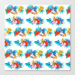 Tropical aqua yellow red orange summer floral leaves Canvas Print