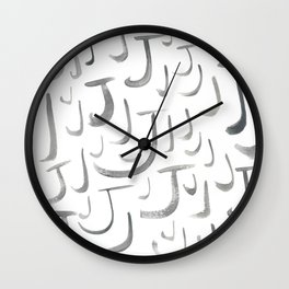 Watercolor J's - Grey Gray Wall Clock