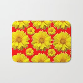 """YELLOW COREOPSIS """"TICK SEED"""" FLOWERS RED PATTERN Bath Mat"""