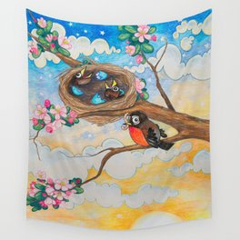 Spring: Mother Robin Wall Tapestry