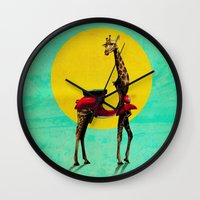 giraffe Wall Clocks featuring Giraffe by Ali GULEC