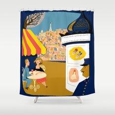 Vintage France Sidewalk Cafe Travel Shower Curtain