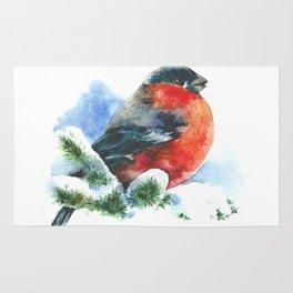 Christmas watercolor bullfinch Rug