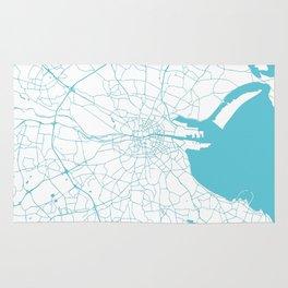 White on Turquoise Dublin Street Map Rug