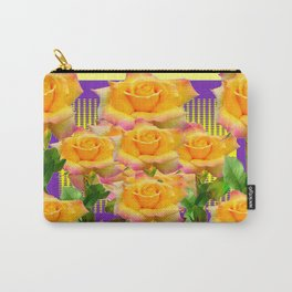 Purple Tinged Golden Yellow Garden Roses Green Art Carry-All Pouch
