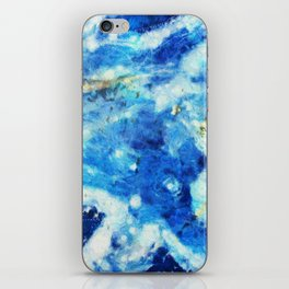 Blue and gold marble texture iPhone Skin