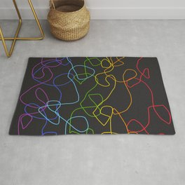 Dark Classic Freehand Abstract Minimal Retro Style Crooked Lines Rug