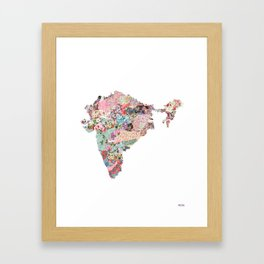 India map portrait Framed Art Print