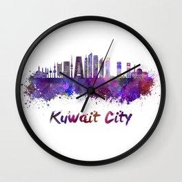 Kuwait City V2 skyline in watercolor Wall Clock