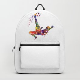 Bicycle Kick Boy Soccer Player Colorful Watercolor Art Striker Gift Football Player Gift Backpack