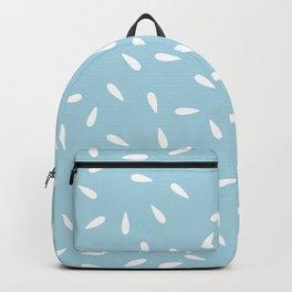 White Raindrops on Pastel Blue Background Backpack