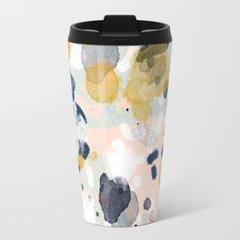 Noel - navy mint gold painted abstract brushstrokes minimal modern canvas art painting Travel Mug