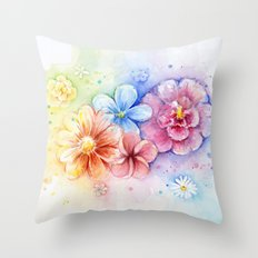 Flowers Rainbow Watercolor Throw Pillow