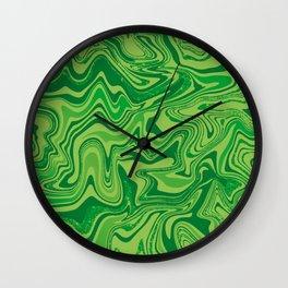 Green Agate Liquid Marble Wall Clock