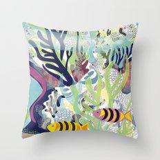 Aquatic with fish Throw Pillow