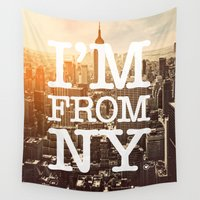 stickers Wall Tapestries featuring New York by Text Guy