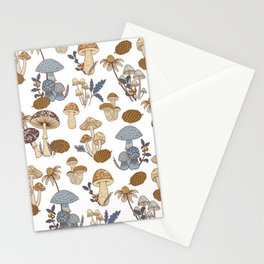 Mushroom Medley in Blue and Rust Stationery Cards