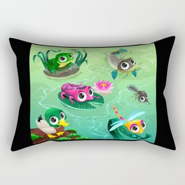 Funny animals in the pond Rectangular Pillow