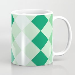 Shamrock Green Diagonal Plaid Pattern Coffee Mug