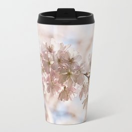 Bee and cherry branches against the blue sky Travel Mug