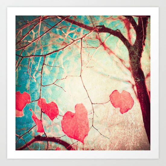 Tree autumn and blue textured sky Art Print