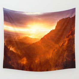 Epic Autumn Sunset Mountain Wall Tapestry