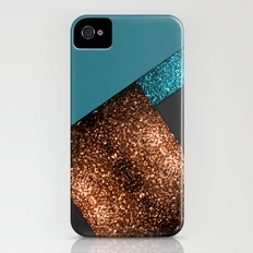 Aqua blue and bronze sparkles modern color block art Slim Case iPhone (4, 4s)