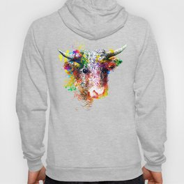 Hand drawn bull, cow, bison, buffalo head face portrait with horns. Colorful cattle painting sketch Hoody