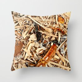 Abstract Texture Of Wooden Chips And Shavings Throw Pillow