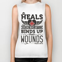 health Biker Tanks featuring He health the brokenhearted by biblebox