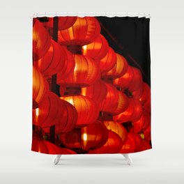 Vibrant red Chinese lanterns Shower Curtain