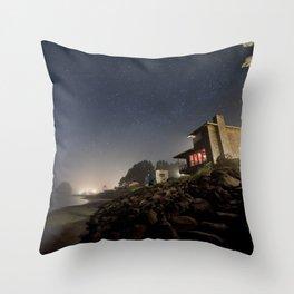 Starry Beach Throw Pillow