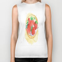 strawberry Biker Tanks featuring strawberry by Ayşe Sezaver