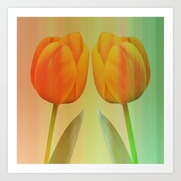 Head-to-Head, mixed media art with elegant Tulips Art Print