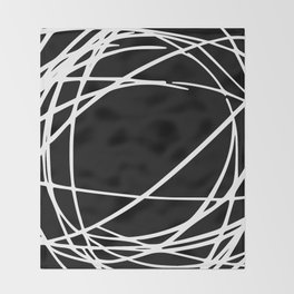 Black and White Circles and Swirls Modern Abstract Throw Blanket