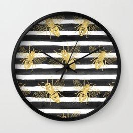 Golden bee noir Wall Clock