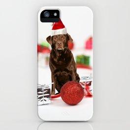 Labrador Dog Christmas w Gifts Santa Hat iPhone Case