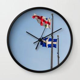 Montréal and Québec Flags Wall Clock