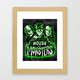 House of Monsters Phantom Frankenstein Dracula classic horror Framed Art Print