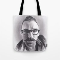 robert farkas Tote Bags featuring Realism Charcoal Drawing of Artist Damon Lucas Farkas by Brittni DeWeese