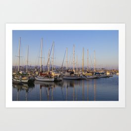 Sail Boats in the Harbor Art Print