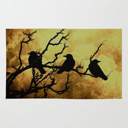 Crows on Branch Against Stormy Sky A522 Rug