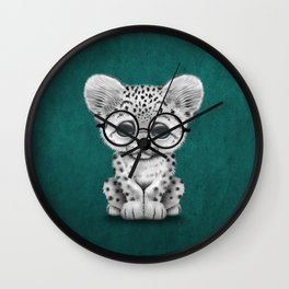 Cute Snow Leopard Cub Wearing Glasses on Teal Blue Wall Clock