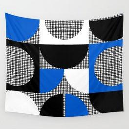 Segments and Circles Black Blue Wall Tapestry