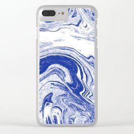 Marble blue 3 Suminagashi watercolor pattern art pisces water wave ocean minimal design Clear iPhone Case