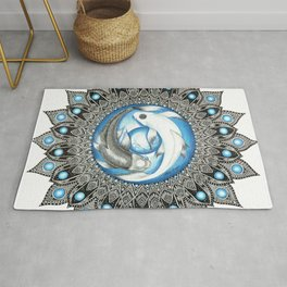 Yin and Yang Butterfly Koi Fish Mandala Rug