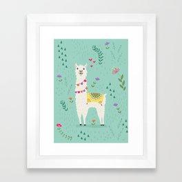 Festive Llama Framed Art Print