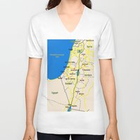 israel V-neck T-shirts featuring Israel Map design by Efratul