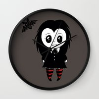 vampire Wall Clocks featuring Vampire by Chrystal Elizabeth