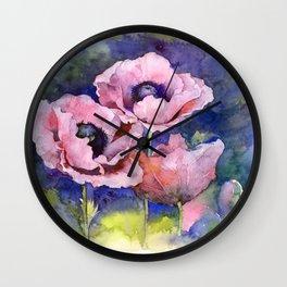 Watercolor Poppies Flowers Art Wall Clock